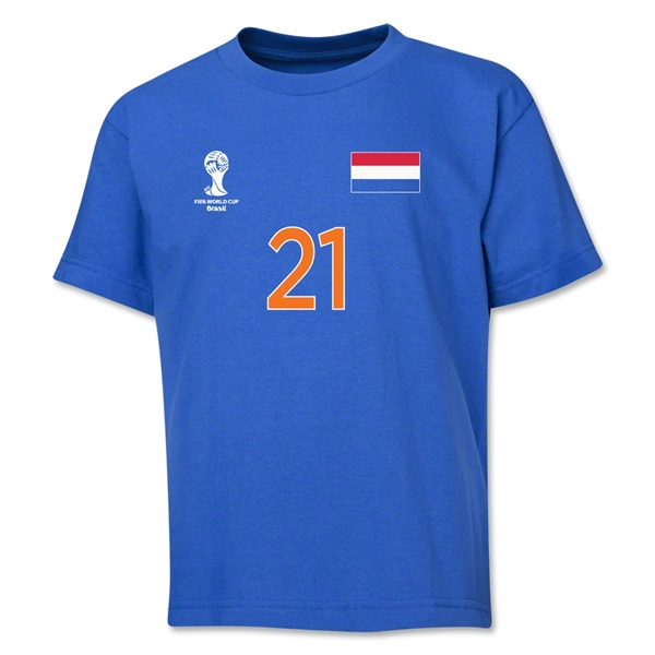 Netherlands 2014 FIFA World Cup Brazil(TM) Youth Number 21 T-Shirt (Royal)
