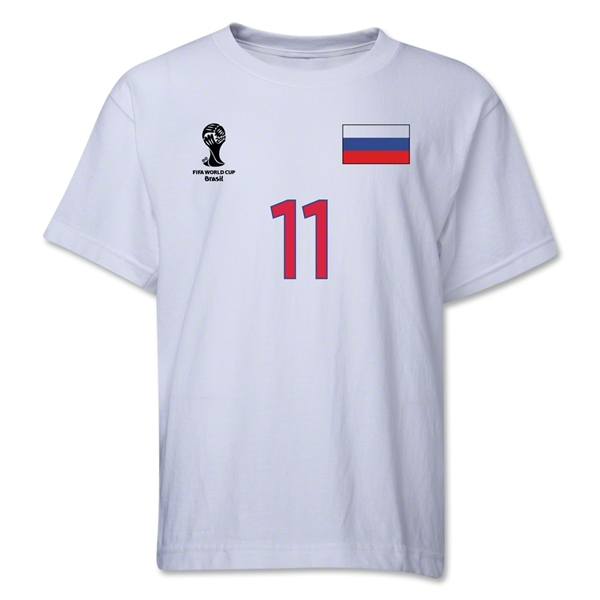 Russia 2014 FIFA World Cup Brazil(TM) Youth Number 11 T-Shirt (White)