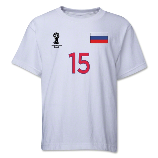 Russia 2014 FIFA World Cup Brazil(TM) Youth Number 15 T-Shirt (White)