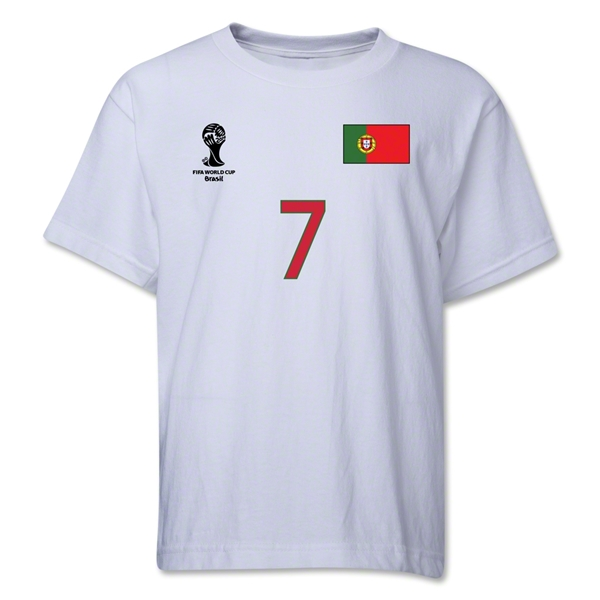 Portugal 2014 FIFA World Cup Brazil(TM) Youth Number 7 T-Shirt (White)