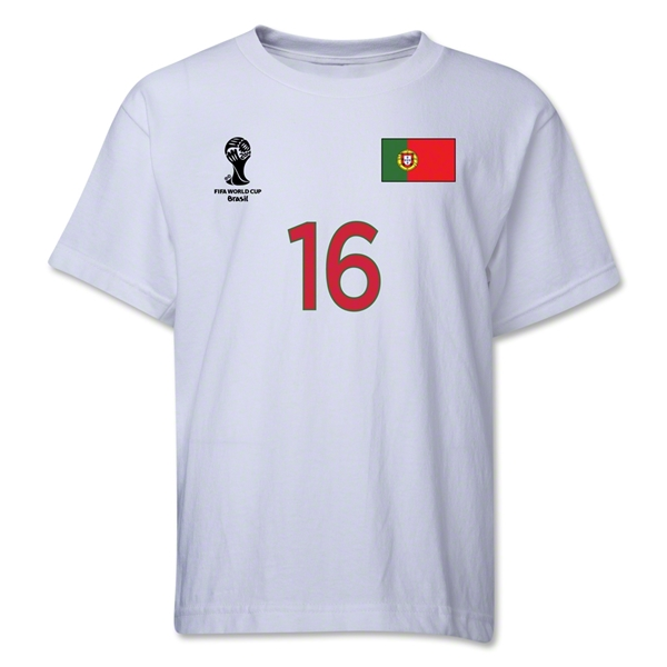 Portugal 2014 FIFA World Cup Brazil(TM) Youth Number 16 T-Shirt (White)