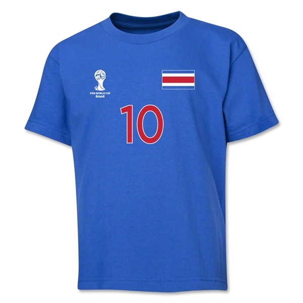 Costa Rica 2014 FIFA World Cup Brazil(TM) Youth Number 10 T-Shirt (Royal)