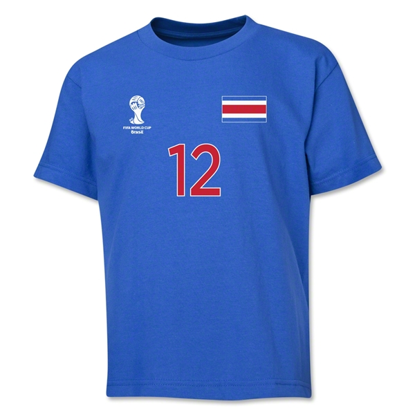Costa Rica 2014 FIFA World Cup Brazil(TM) Youth Number 12 T-Shirt (Royal)