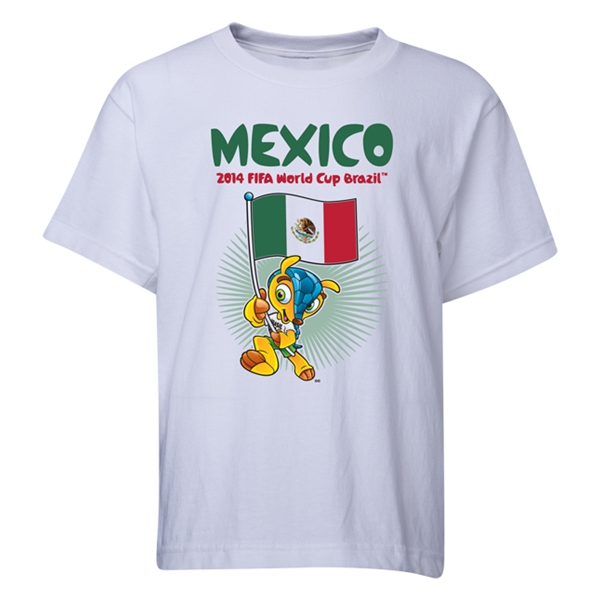 Mexico 2014 FIFA World Cup Brazil(TM) Youth Mascot Flag T-Shirt (White)