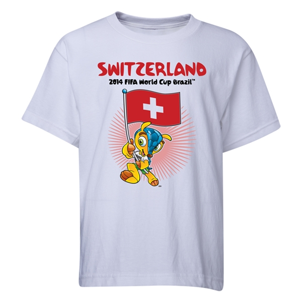 Switzerland 2014 FIFA World Cup Brazil(TM) Youth Mascot Flag T-Shirt (White)