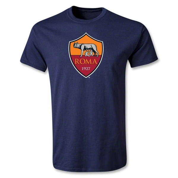 AS Roma Crest Youth T-Shirt (Navy)