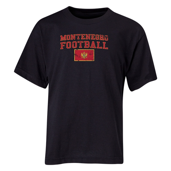 Montenegro Youth Football T-Shirt (Black)