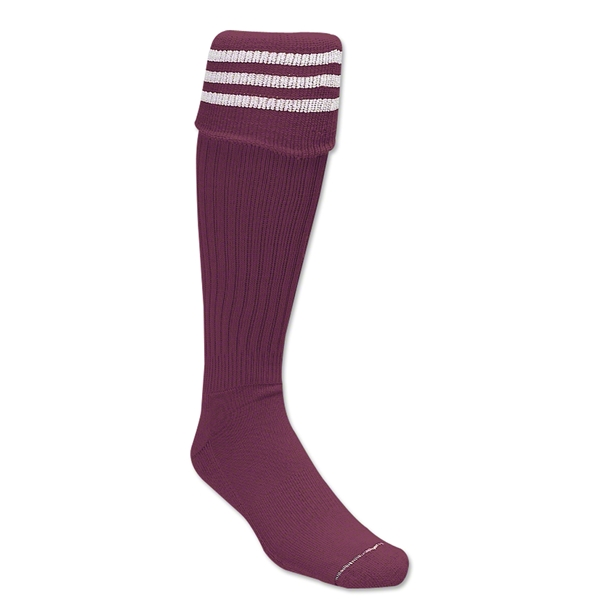 Three-Stripe Socks (Maroon/White)