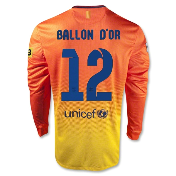 Barcelona 12/13 Messi Ballon d'Or LS Away Soccer Jersey