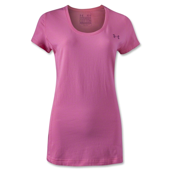 Under Armour Women's Charged Cotton Scoop T-Shirt (Pink)