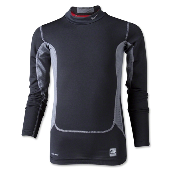 Nike Pro Combat Hyperwarm Compression Mock (Blk/Grey)