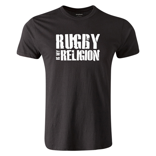 dumpTackle Rugby Is My Religion T-Shirt (Black)