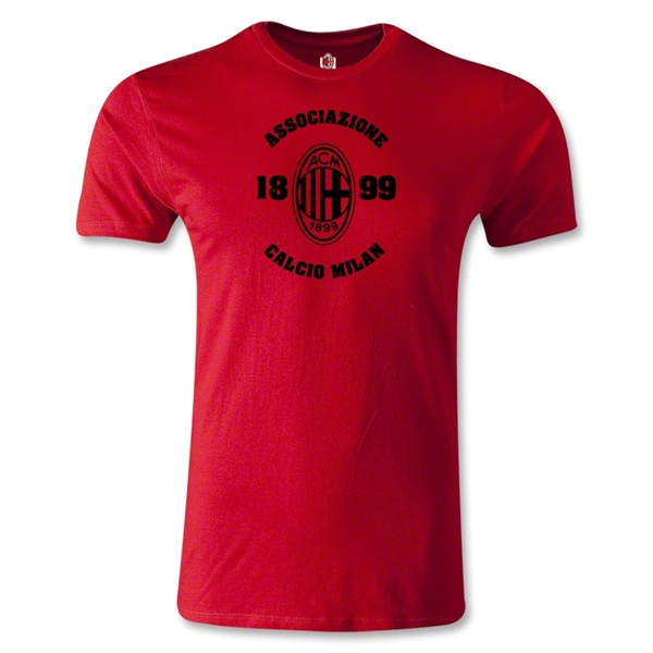 AC Milan Distressed Men's Fashion T-Shirt (Red)