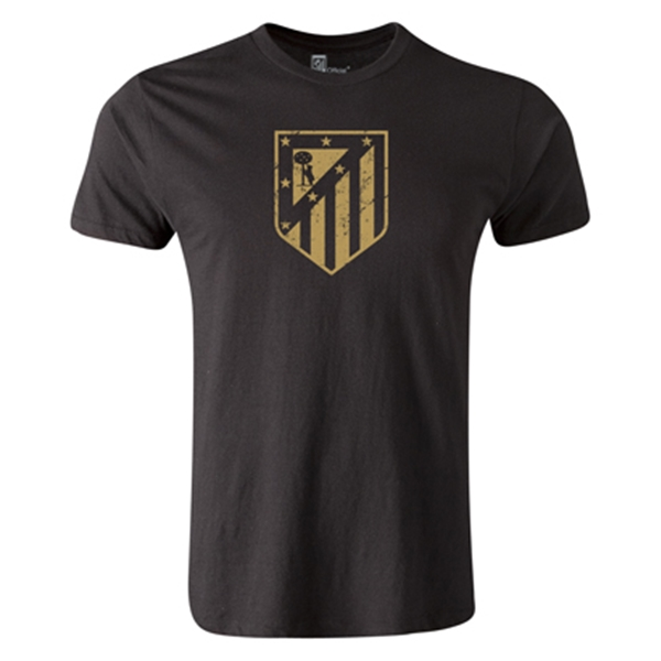 Atletico Madrid Distressed Crest Men's Fashion T-Shirt (Black)