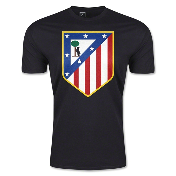 Atletico Madrid Crest Men's Fashion T-Shirt (Black)