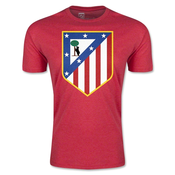 Atletico Madrid Crest Men's Fashion T-Shirt (Heather Red)