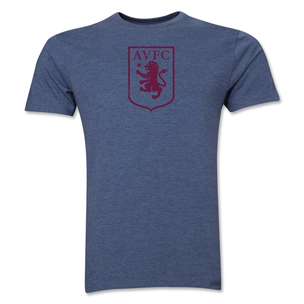 Aston Villa Distressed Club Logo Men's Fashion T-Shirt (Blue)