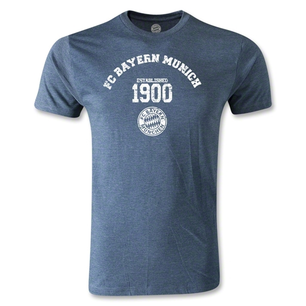 Bayern Munich Distressed Established 1900 Men's Fashion T-Shirt (Blue)