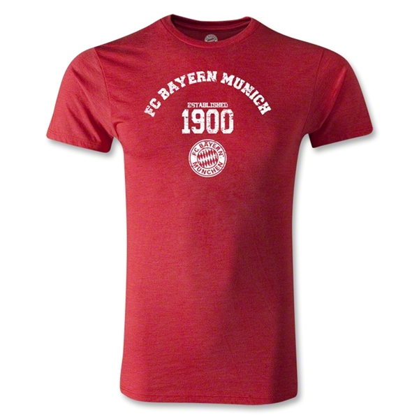 Bayern Munich Distressed Established 1900 Men's Fashion T-Shirt (Heather Red)
