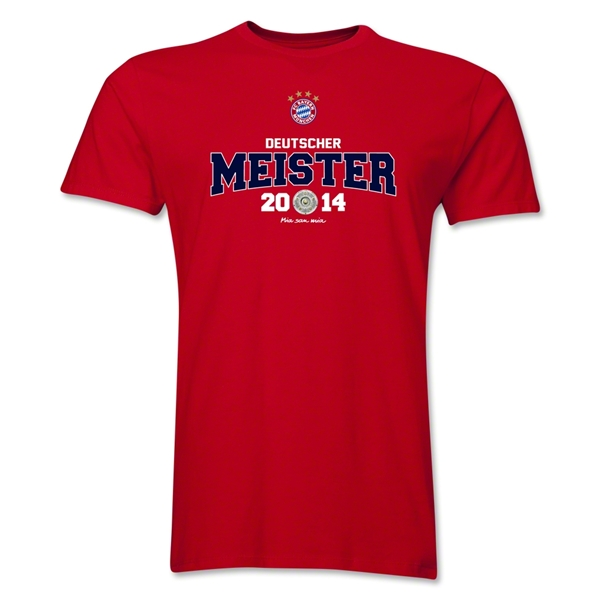 Bayern Munich 2014 Bundesliga Champions Men's Fashion T-Shirt (Red)