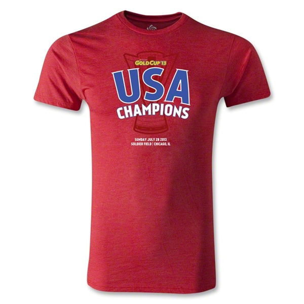 USA CONCACAF Gold Cup 2013 Champions Men's Fashion T-Shirt (Heather Red)