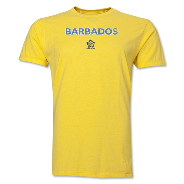 Barbados CONCACAF Distressed Men's Fashion T-Shirt (Yellow)