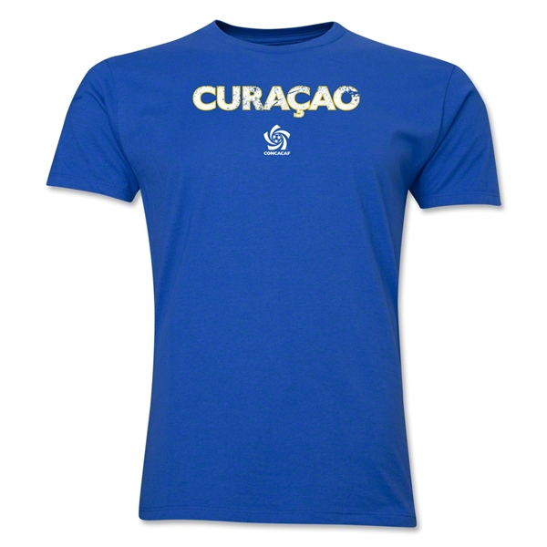 Curacao CONCACAF Distressed Men's Fashion T-Shirt (Royal)