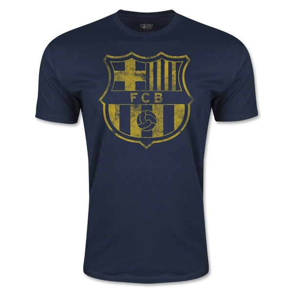 Barcelona Vintage Crest Men's Fashion T-Shirt (Navy)