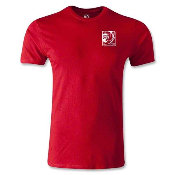 FIFA Confederations Cup 2013 Men's Fashion Small Emblem T-Shirt (Red)