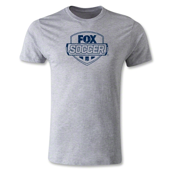 Fox Soccer Distressed Men's Fashion T-Shirt (Gray)