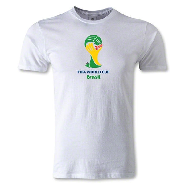 2014 FIFA World Cup Brazil(TM) Emblem Men's Fashion T-Shirt (White)