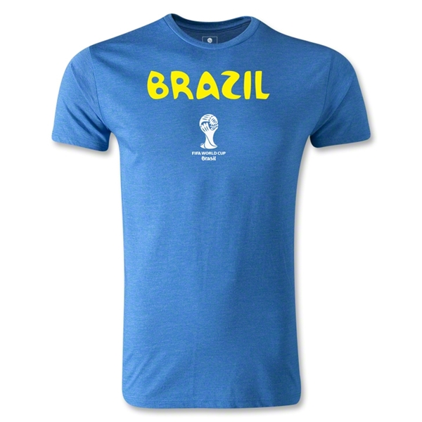 Brazil 2014 FIFA World Cup Brazil(TM) Core Men's Premium T-Shirt (Heather Blue)
