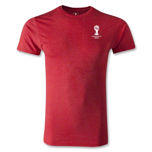 2014 FIFA World Cup Brazil(TM) Men's Emblem Fashion T-Shirt (Heather Red)