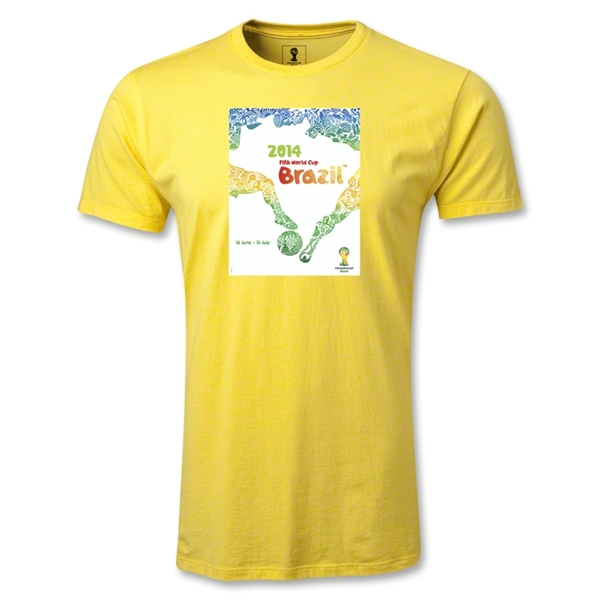 2014 FIFA World Cup Brazil(TM) Official Event Poster Men's Premium T-Shirt (Yellow)