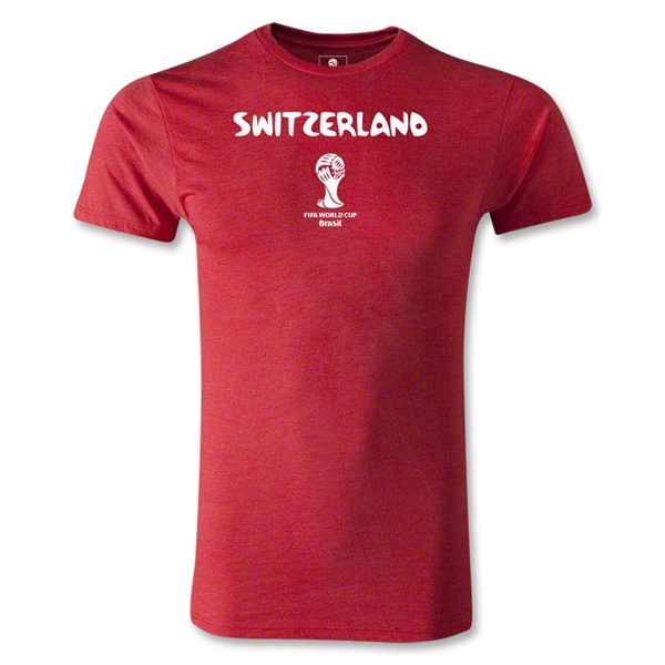 Switzerland 2014 FIFA World Cup Brazil(TM) Men's Premium Core T-Shirt (Heather Red)