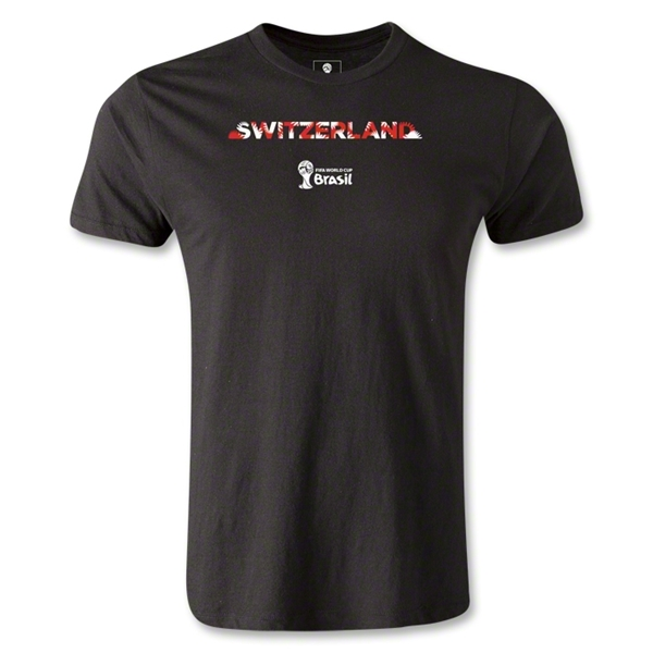Switzerland 2014 FIFA World Cup Brazil(TM) Men's Premium Palm T-Shirt (Black)