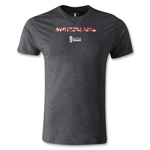 Switzerland 2014 FIFA World Cup Brazil(TM) Men's Premium Palm T-Shirt (Dark Grey)
