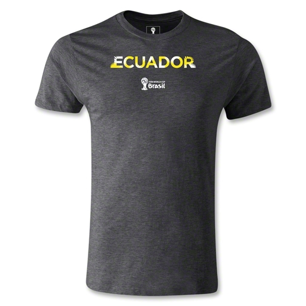 Ecuador 2014 FIFA World Cup Brazil(TM) Men's Premium Palm T-Shirt (Dark Grey)