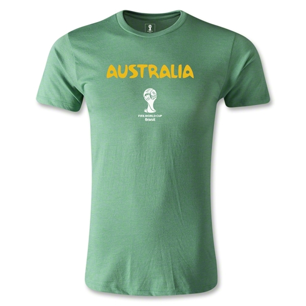 Australia 2014 FIFA World Cup Brazil(TM) Men's Fashion Core T-Shirt (Heather Green)