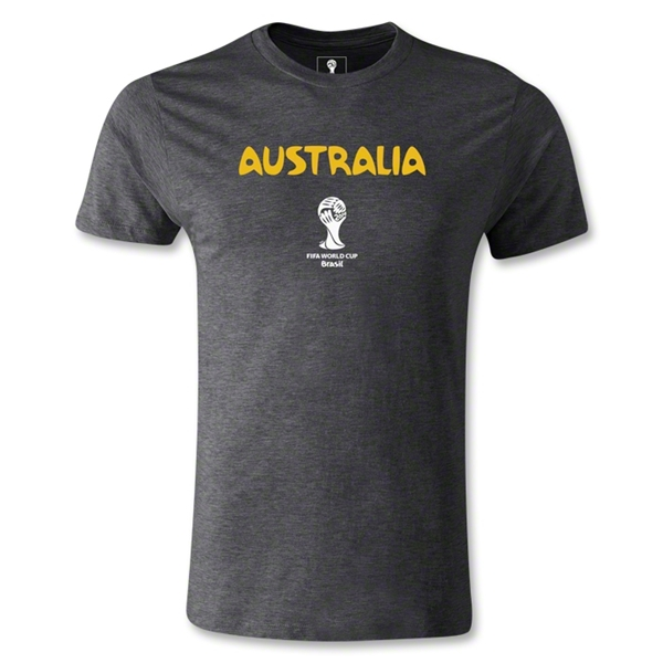 Australia 2014 FIFA World Cup Brazil(TM) Men's Fashion Core T-Shirt (Dark Gray)