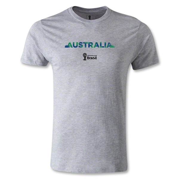 Australia 2014 FIFA World Cup Brazil(TM) Men's Premium Palm T-Shirt (Gray)