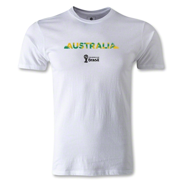 Australia 2014 FIFA World Cup Brazil(TM) Men's Fashion Palm T-Shirt (White)