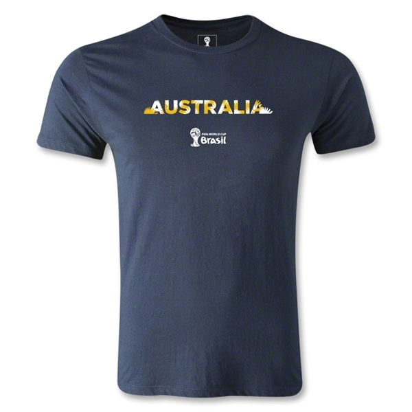 Australia 2014 FIFA World Cup Brazil(TM) Men's Premium Palm T-Shirt (Navy)