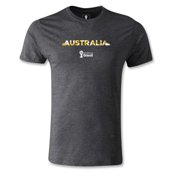 Australia 2014 FIFA World Cup Brazil(TM) Men's Fashion Palm T-Shirt (Dark Gray)
