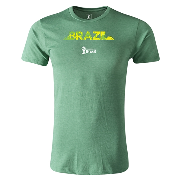 Brazil 2014 FIFA World Cup Brazil(TM) Men's Premium Palm T-Shirt (Heather Green)
