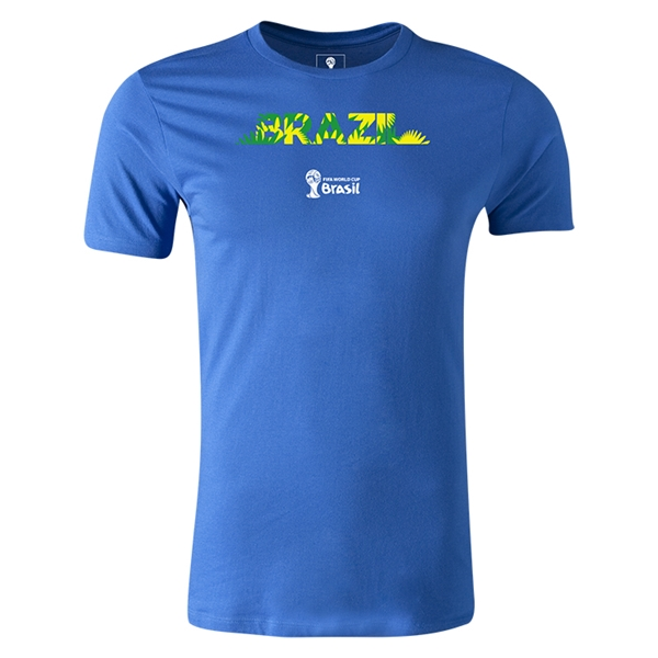 Brazil 2014 FIFA World Cup Brazil(TM) Men's Premium Palm T-Shirt (Royal)