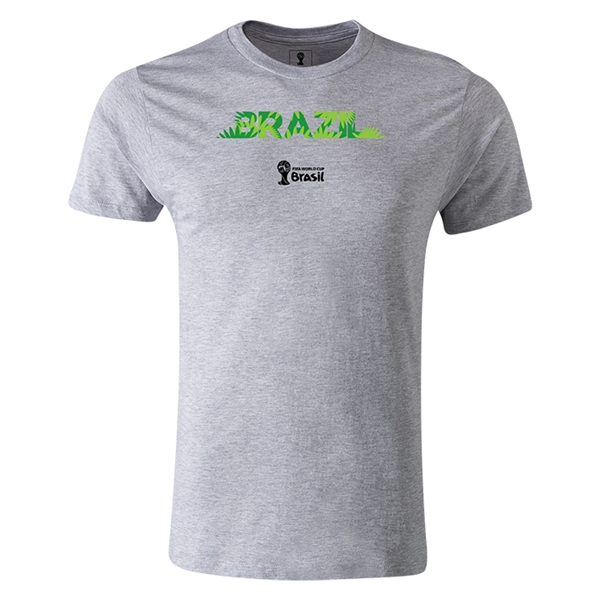 Brazil 2014 FIFA World Cup Brazil(TM) Men's Premium Palm T-Shirt (Gray)