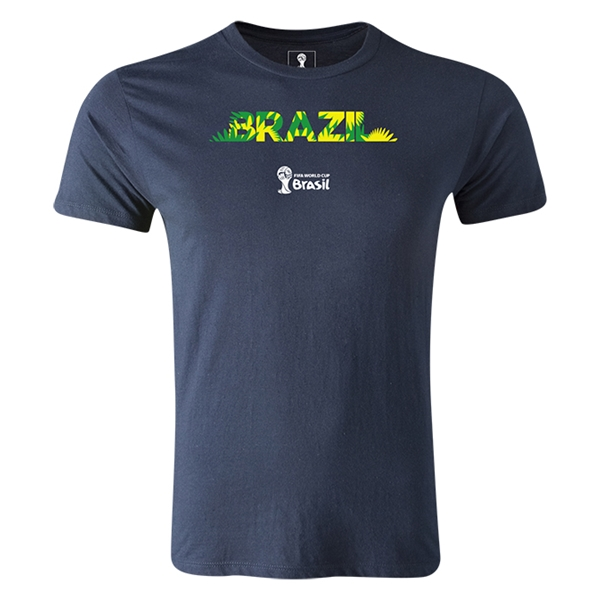 Brazil 2014 FIFA World Cup Brazil(TM) Men's Premium Palm T-Shirt (Navy)