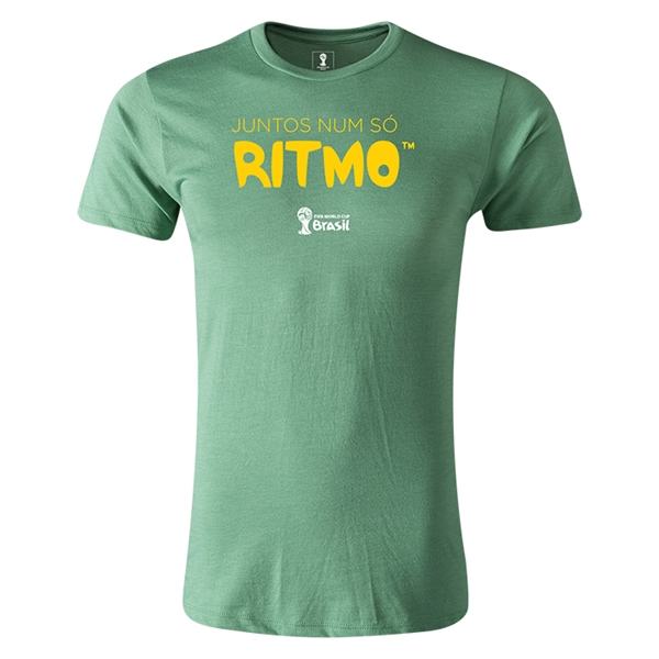 2014 FIFA World Cup Brazil(TM) Men's Premium Portugese All In One Rhythm T-Shirt (Heather Green)