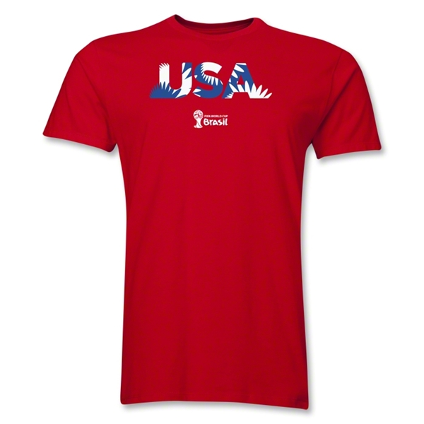 USA 2014 FIFA World Cup Brazil(TM) Men's Premium Palm T-Shirt (Red)